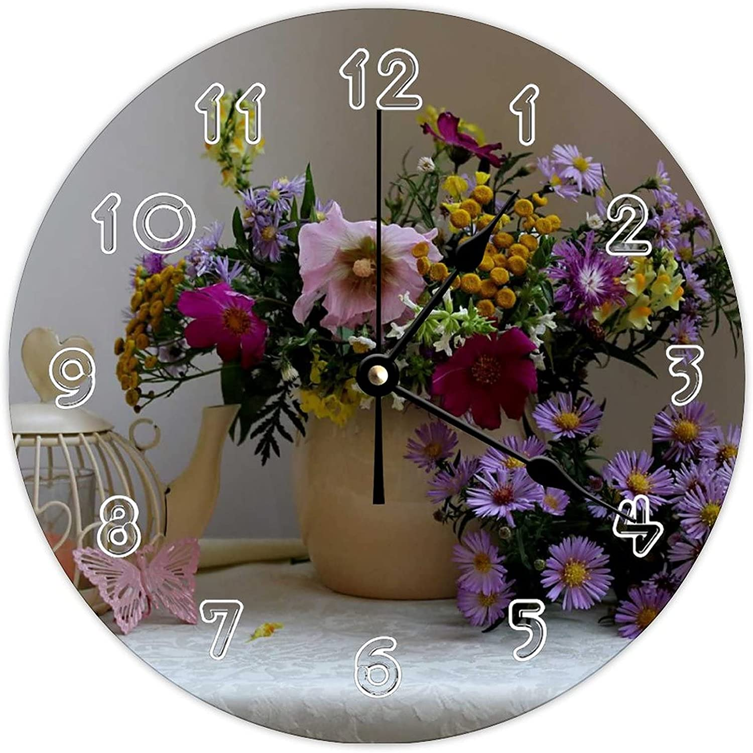 Ticking Brand Cheap Sale Venue Silent Clock Still 67% OFF of fixed price Life Bouquets Cosmos Asters Ket Plant