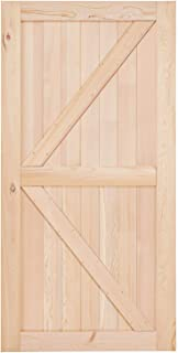 EaseLife 42in x 84in Sliding Barn Wood Door Slab,Solid Nature Hemlock,Single Door Only,DIY Unfinished Panel,Environmental,Easy Installation,K-Frame (Fit 8FT Track Kit)