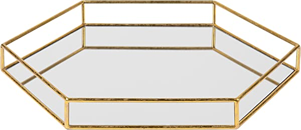 Kate And Laurel Felicia 20x20 Metal Mirrored Hexagon Decorative Tray Gold