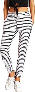 SweatyRocks Women's Striped Sweatpants Drawstring Waist Long Workout Yoga Active Pants Grey