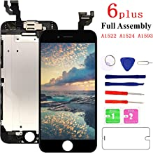 Screen Replacement for iPhone 6 plus Black, Fully Pre-Assembled LCD Display and Touch Screen Digitizer Replacement with Proximity Sensor, Earspeaker and Front Camera, Repair Tools and Screen Protector