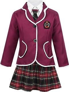 easyforever Kids Girls British School Uniform Outfit 4PCS Long Sleeve Jacket with Oxford Shirt Plaid Skirt Tie Set