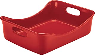 Rachael Ray Solid Glaze Ceramics Bakeware / Lasagna Pan / Baker, Rectangle - 9 Inch x 12 Inch, Red