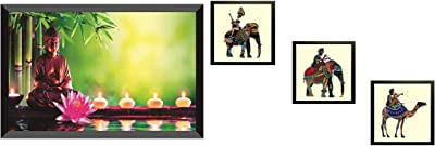 SAF Wood, Glass Religious Wall Painting with Frame