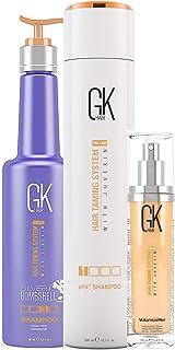 Global Keratin GKhair Silver Bombshell Champú púrpura (280 ml 95 fl. oz) y champú pH + champú pre-tratamiento aclarante ...