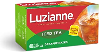 Luzianne Decaffeinated Family Size Iced Tea Bags 48 ct. Box (Pack of 6)