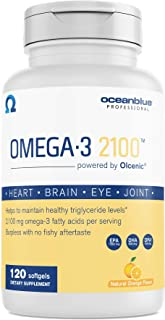 Oceanblue Omega-3 2100 – 120 ct – Triple Strength Burpless Fish Oil Supplement with High-Potency EPA and DHA – Wild-Caught...