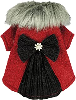 Fitwarm Faux Furred Pet Clothes for Dog Winter Coats Cat Jackets Red