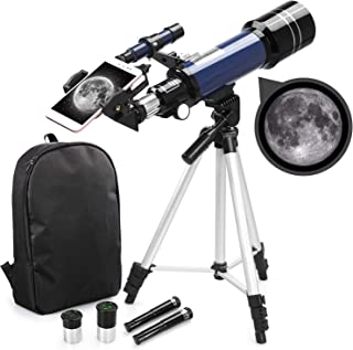 USCAMEL Astronomical Refractor Telescope for Kids Beginners - 70mm Refractor Telescope with Backpack, Smartphone Adapter and Adjustable Tripod for Moon Viewing