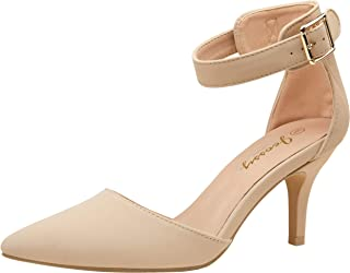 VEPOSE Women's Pumps IN3 Kitten Heels Ankle Strap Low Heel Pointed Mid Casual Dress Bridal Pump Wedding Shoes