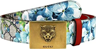e6cca7c5565 Gucci Unisex Gold Tiger Blue GG Supreme Coated Canvas Bloom Print Belt  Buckle 434559 8492 (