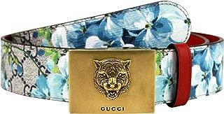 Unisex Gold Tiger Blue GG Supreme Coated Canvas Bloom Print Belt Buckle 434559 8492 (80/32)