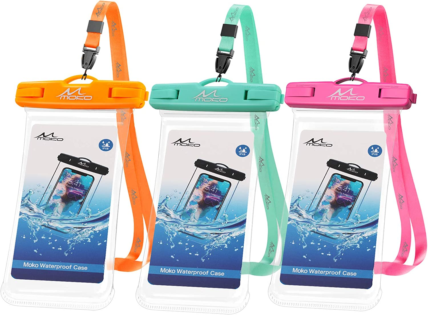 MoKo Waterproof Phone Pouch 3-Pack, Underwater Phone Case Dry Bag with Lanyard Compatible with iPhone 13/13 Pro Max/iPhone 12/12 Pro Max/11 Pro Max/X/Xr/Xs Max/8, Galaxy S21/S20, up to 7.5