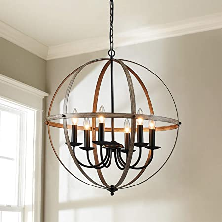 Saint Mossi 6 Light Rustic Chandelier Traditional Chandelier In Brass Finish Globe Pendant Lighting In Farmhouse Industrial Country Style H26 X D24 With Adjustable Chain Home Improvement