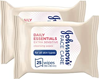 JOHNSON'S Cleansing Wipes Daily Essentials Extra-Sensitive All Skin Types Make up remover, 25 wipes x 2