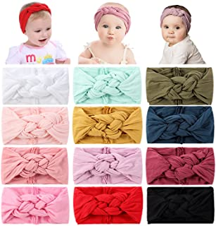 Cinaci 12 Pack Solid Super Stretchy Nylon Wide Celtic Knotted Headbands Headwrap Hair Accessories for Baby Girls Infants T...