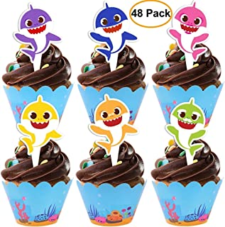 48 pieces Shark Cupcake Toppers Wrappers Shark Theme Party Supplies- Shark Family Baby Shower Birthday Party Decorations