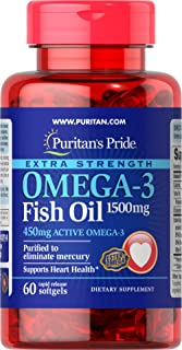 Puritan's Pride Extra Strength Omega-3 Fish Oil 1500 mg (450 mg Active Omega-3) - 60 Rapid-Released Softgels