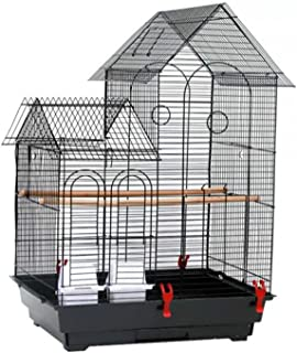"""Birdcages 30""""الطيور قفص مستلزمات الحيوانات الأليفة قفص معدني أسود سهلة مفتوحة الباب قوي متين بما في ذلك 2 الحماس و 2 أكواب..."""