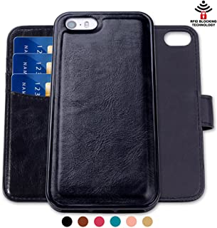 SHANSHUI Wallet Case Compatible with iPhone SE/5/5s, Magnetic Detachable 2 in 1 PU Leather Flip Wallet Case with 3 RFID Card Holders and 1 Cash Pocket with Slim Back Cover (Black)