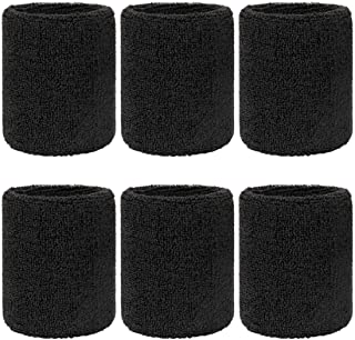 Meterk 6 Pack Sports Wristband Wrist Sweatbands, Elastic Athletic Cotton Wrist Bands Set for Football Basketball Tennis Al...