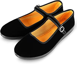 Women's Velvet Mary Jane Shoes Black Cottton Old Beijing Cloth Flats Yoga Exercise Dance Shoes