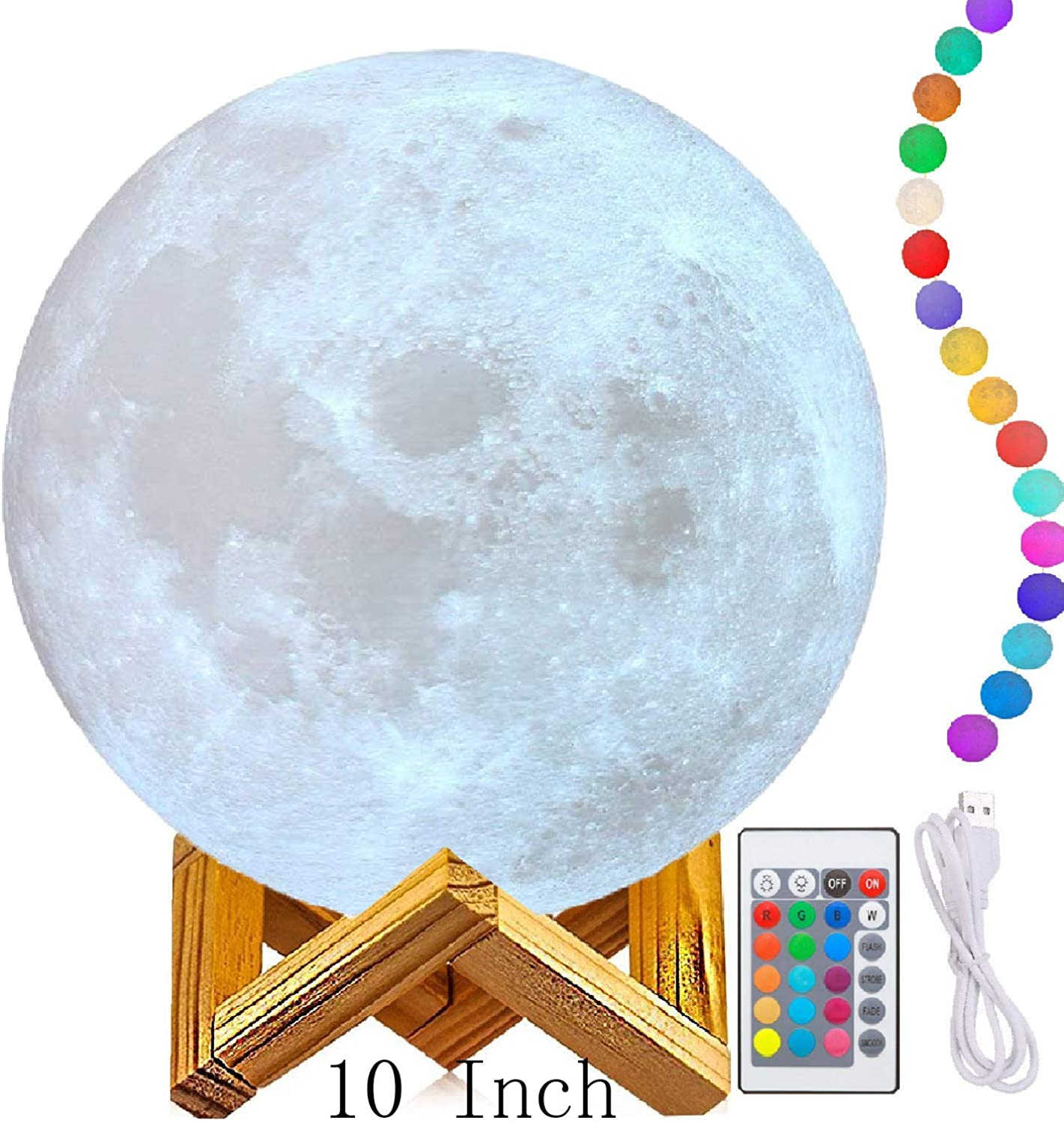 10  Big Moon Lamp, Moon Light Lamps(6 -11 ),3D Printing Moon Lamp with Stand,The 3D Moon Lamp with LED 16 colors, Touch Control and Remote Control.