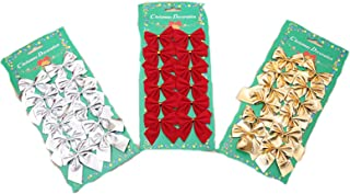 DADA Christmas Bows,Ribbon Bows Ornaments Bowknot Christmas Tree Decorations,Pack of 36