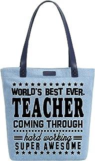 Women's Best Teacher Gift Denim Dye Handbag Tote Shoulder Shopper Bag