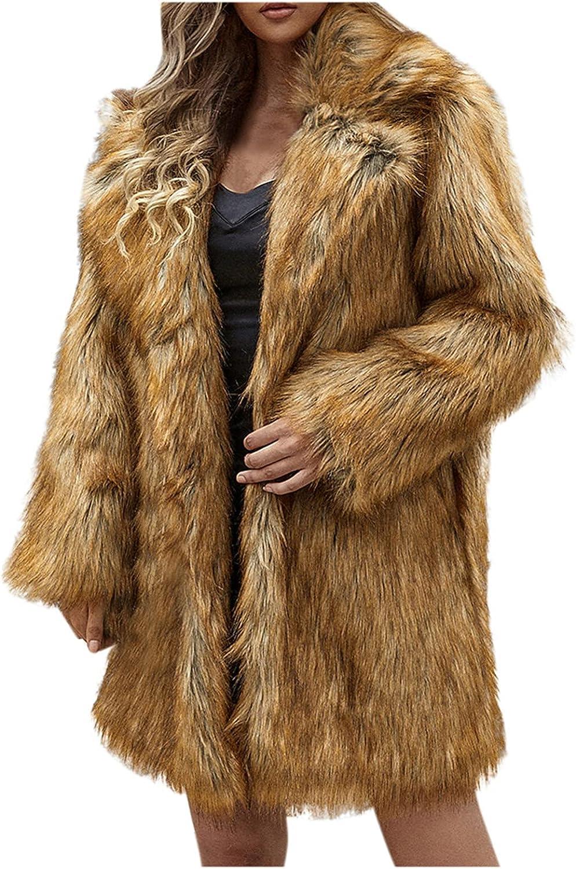 ManxiVoo Womens Notched Lapel Faux Fur Outerwear Coats Warm Winter Fleece Open Front Jackets Cardigan Coat
