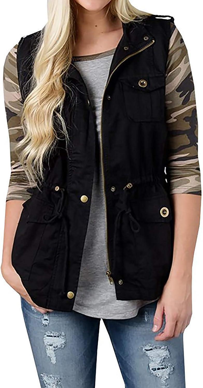 SOUGAO Women's Sleeveless Cargo Utility Safari Vest Military Jacket Vest Pockets