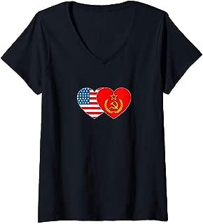 Womens SSSR & USA Flag Twin Heart for Soviet Americans Patriotic V-Neck T-Shirt