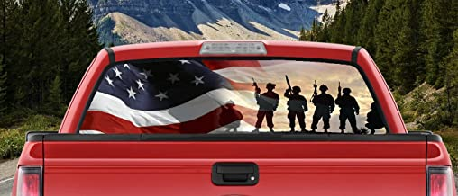 M22 Waving US Flag American Military Silhouettes on The Hilltop Full Color Back Window Graphic Decal Truck Backscape 66 X 20 Inches
