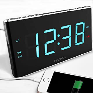Radio Alarm Clock, iTOMA FM Digital Radio Clock Bedside Alarm Clock with Dual Alarms, 4 Level Dimmer Control, 1.8-inch LED...