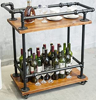 DOFURNILIM Wine Rack Cart/Serving Cart on Wheels with Storage for Kitchen Bar Living Room - 2 Tiers Wine Tea Beer Shelves/Holder - Solid Wood and Metal Pipe (2-Tier)