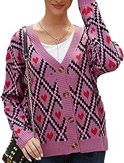 Women Botton Down Long Sleeve Deep V Neck Knit Cardigan Sweater