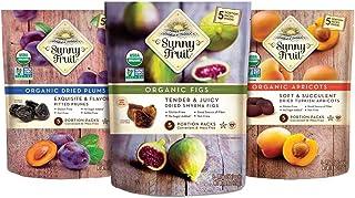ORGANIC Dried Fruit Assortment - Sunny Fruit Prunes, Figs & Apricots (3 Bags) - (5) 1.76oz Portion Packs per Bag - NO Adde...