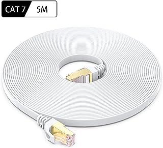 Cat7 LANケーブル 5m, Cat-7 STPカテゴリー7 フラットケーブル 10Gbps 600MHz ギガビット 高速 イーサネットケーブル 金メッキ RJ45コネクタ付き 爪折れ防止 5M ホワイト