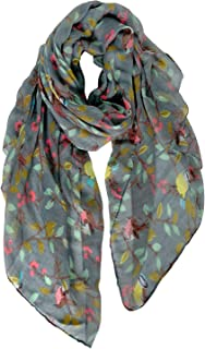 GERINLY Floral Birds Scarf Lightweight Wrap Shawl for Women