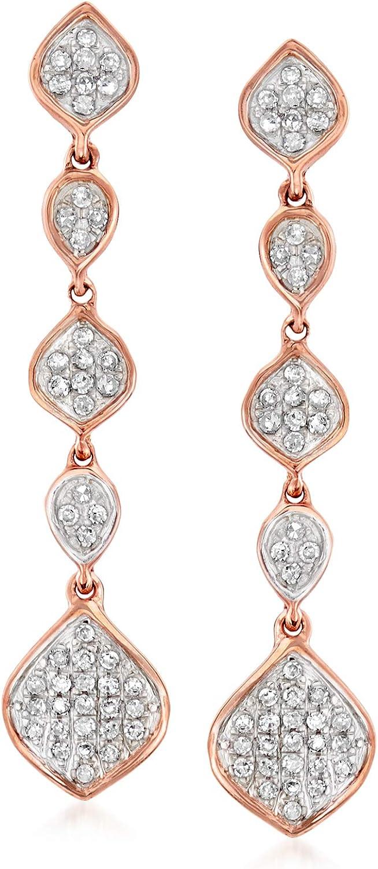 Ross-Simons 0.25 ct. t.w. Diamond Multi-Shape Cluster Drop Earrings in 14kt Rose Gold