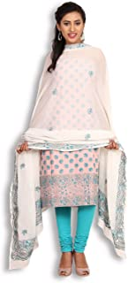 Peach & White Cotton Chikankari Suit