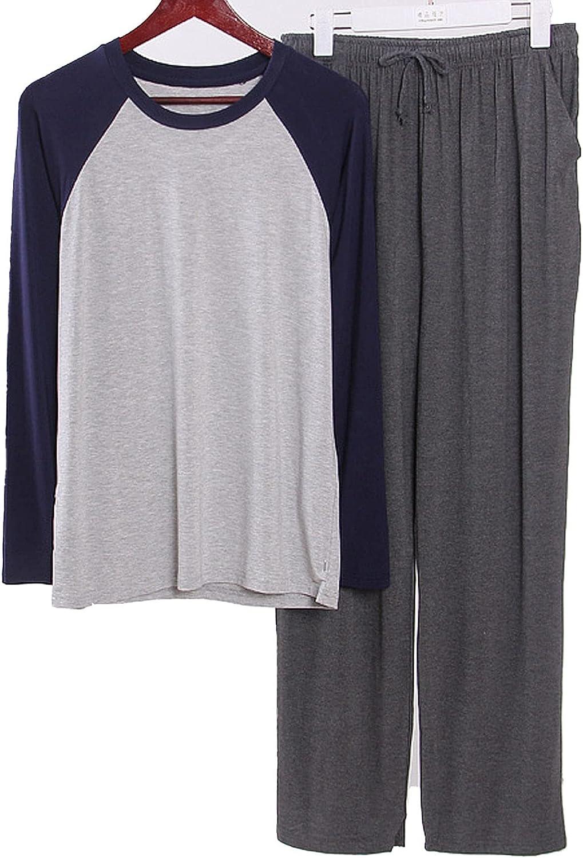 GTHTTT Men's Raglan Pajama Set Woven Plain-Weave Sleepwear Long Sleeve Sleep Shirt Set with Pockets Drawstring Loungewear