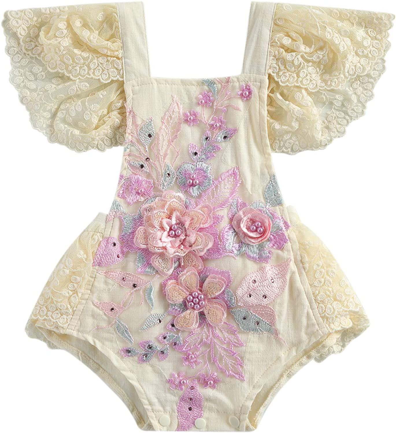 YOKJZJD Newborn Infant shipfree Baby Girl Long Romper Floral Lace Sleeve Manufacturer regenerated product