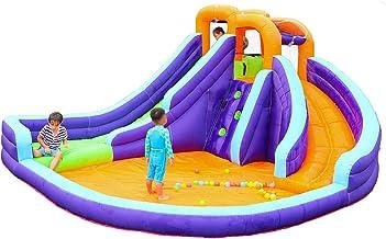 YILYMINA Piscina para Niños Parque Acuático con Tobogán Castillo Hinchable Inflable Inflable, Piscina de Juegos Inflable con Tobogán Acuático, Los 420X365X225cm,A