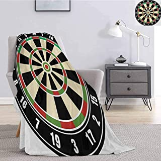 Luoiaax Sports Flannel Fleece Throw Blanket Dart Board Numbers Sports Accuracy Precision Target Leisure Time Graphic Soft Warm Plush Blanket W40 x L60 Inch Vermilion Green Black