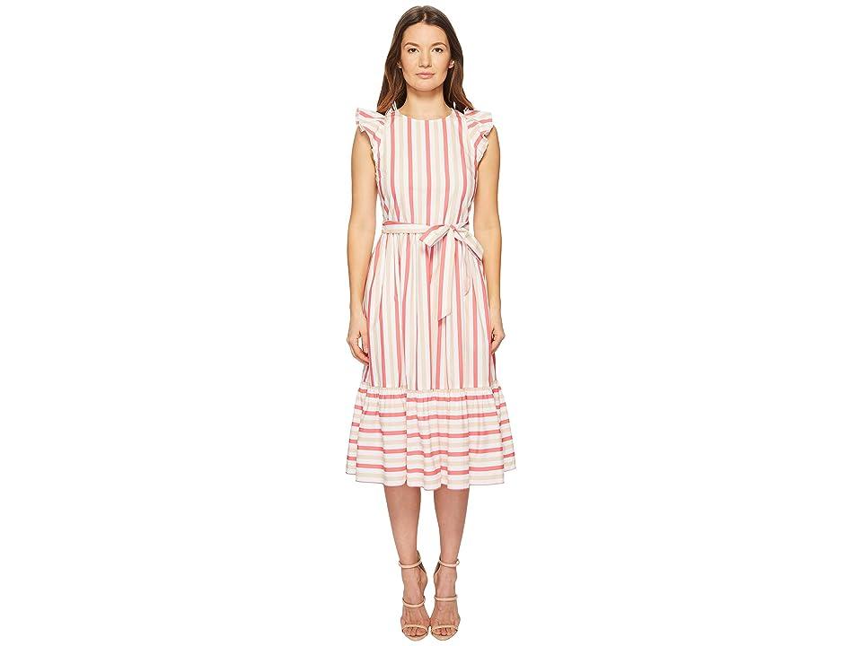 Kate Spade New York Stripe Poplin Midi Dress (Peach Sherbet) Women