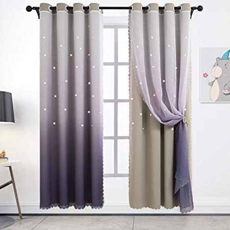 Star Curtains Stars Blackout Curtains for Kids Girls Bedroom Living Room M8H8
