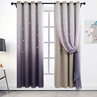 Hughapy Star Curtains Ombre Curtain for Kids Girls...