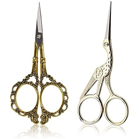 BIHRTC 4.5'' Scissors Vintage Plum Blossom Scissors and Classic Crane Design Sewing Scissors Gold Scissors for Embroidery, Sewing, Craft, Art Work & Everyday Use