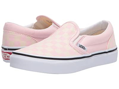 Vans Kids Classic Slip-On (Little Kid) ((Checkerboard) Blushing/Classic White) Girls Shoes